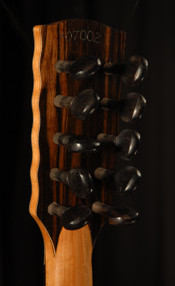 rear view of the head of michael mccarten's 10 string baroque guitar model