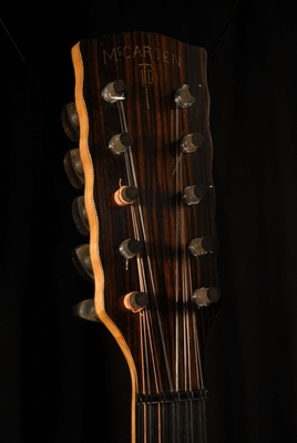 front view of the head of michael mccarten's 10 string baroque guitar model