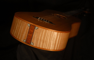 view of the tail of michael mccarten's 10 string baroque guitar model