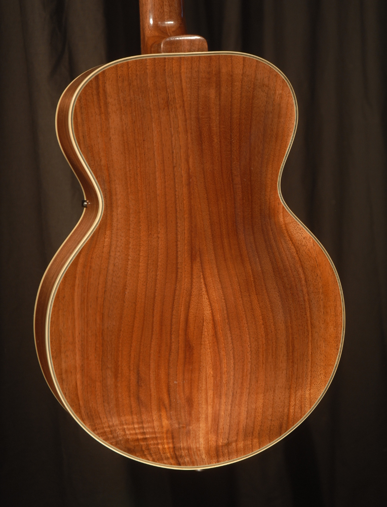 rear view of the body of michael mccarten's archtop baritone ukulele model