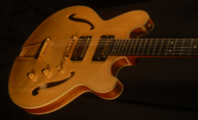 detailed front view of michael mccarten's DC16 double cutaway semi hollow electric guitar model