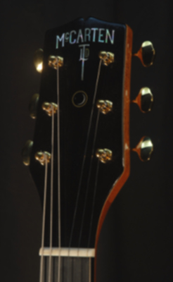 front view of the headstock of michael mccarten's DC16 double cutaway semi hollow electric guitar model